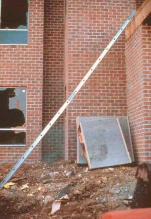 Improper use of a ladder